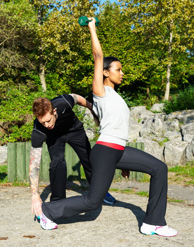 Client, Training With Mobile Personal Trainers in a Park in London