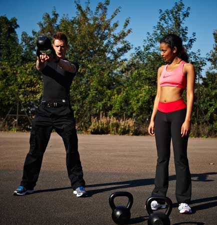 Personal Trainer Demonstrating the Kettlebell Swing